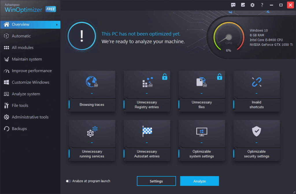 Ashampoo WinOptimizer - best cleanup tool for windows 10