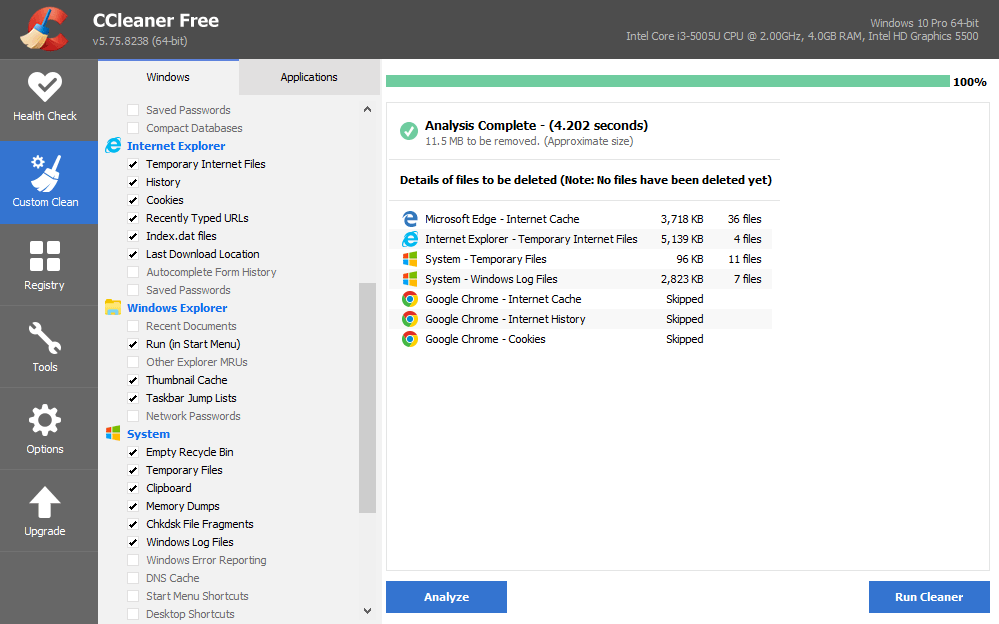 Custom Clean with ccleaner