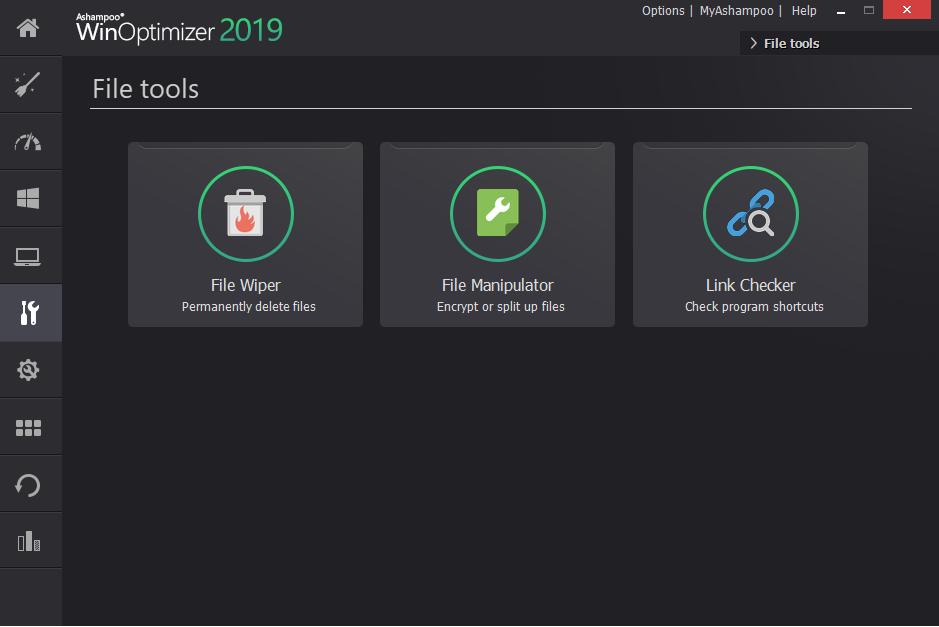 File tools in win optimizer