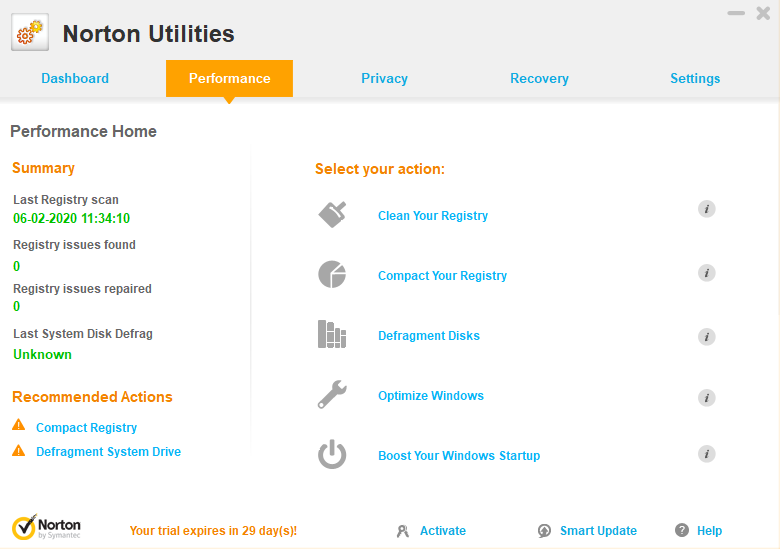 Norton utilities performance