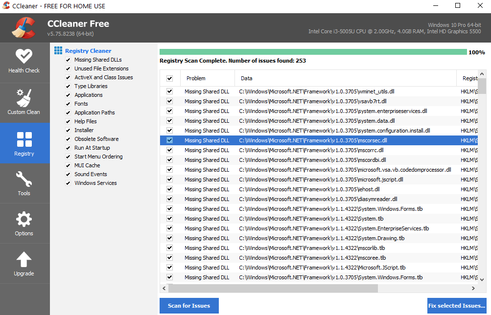 registry clean in Piriform CCleaner
