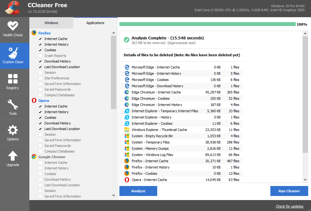 Speed of ccleaner
