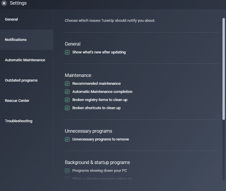 Customizable Settings with AVG PC TuneUp