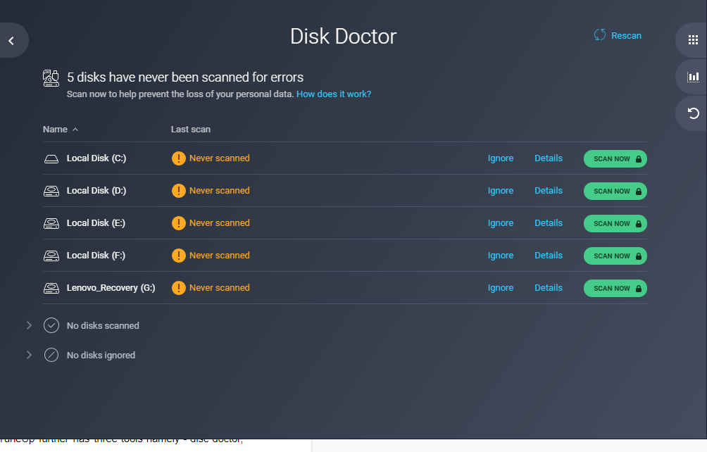 fix disk problem by AVG PC TuneUp
