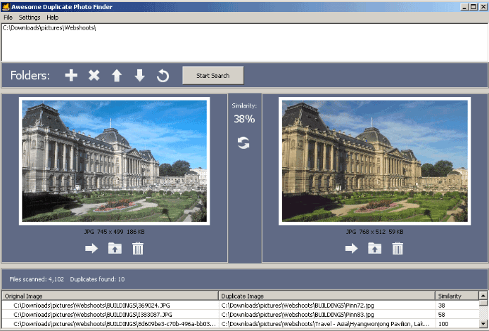 interface of Duplicate Photo Finder Tool