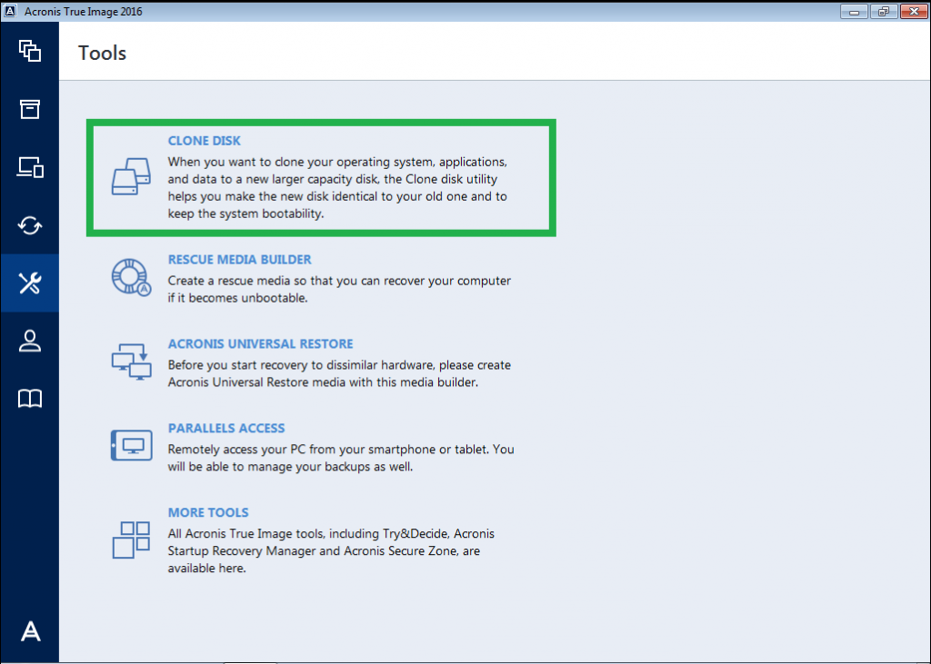 Acronis True Image, tool to clone your hard disk