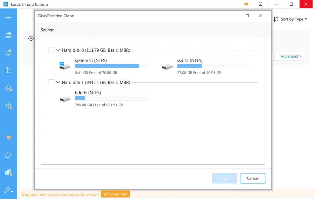 EaseUS Todo Backup, disk imaging tool