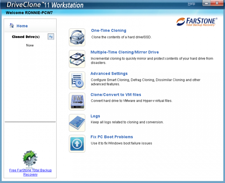 Farstone DriveClone, copy of your SSD and hard disk