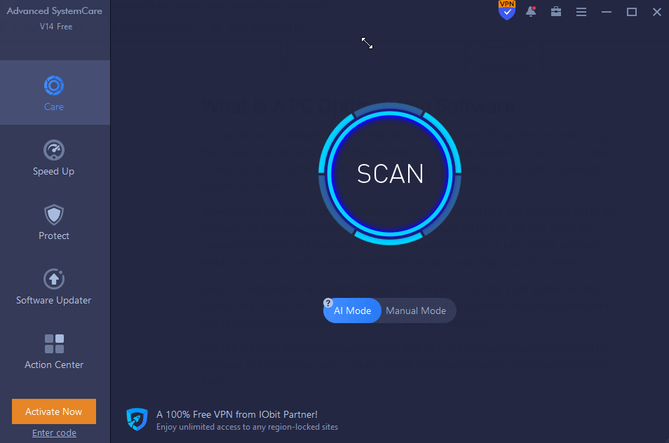 IObit Advanced SystemCare - temp file cleaner