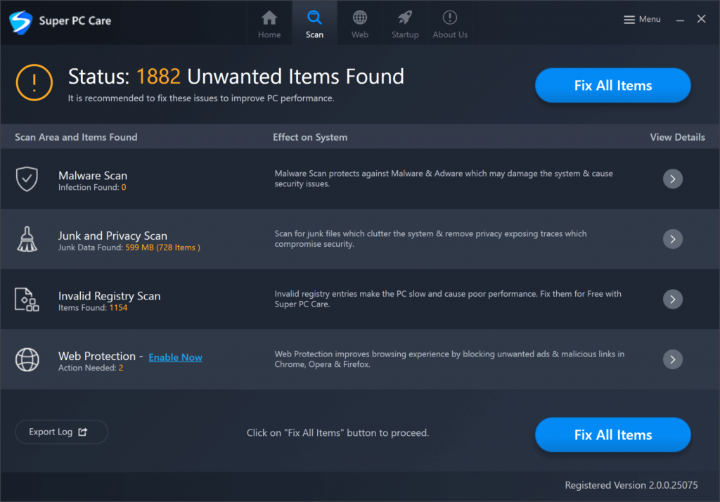 Scan unwanted items from super pc care