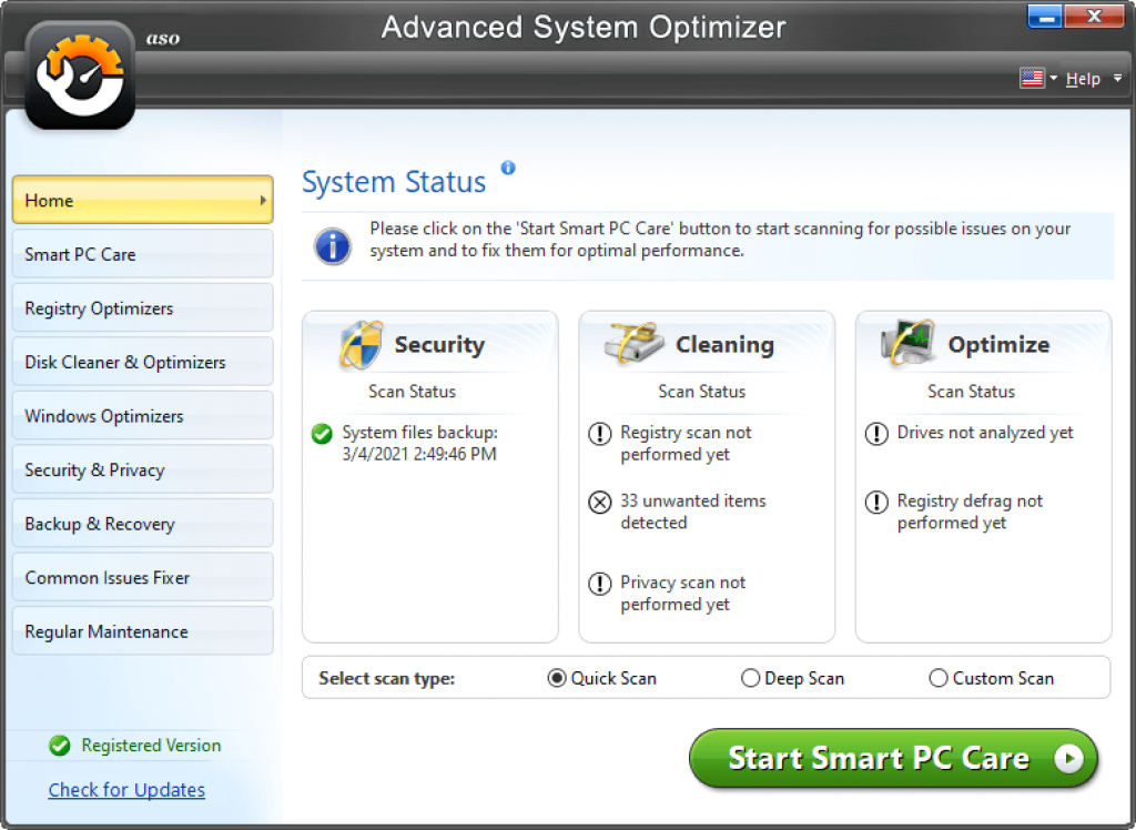 Advanced System Optimizer: free pc cleaning utility for windows