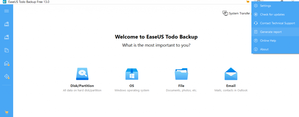 Customer Support, one-click backup utility