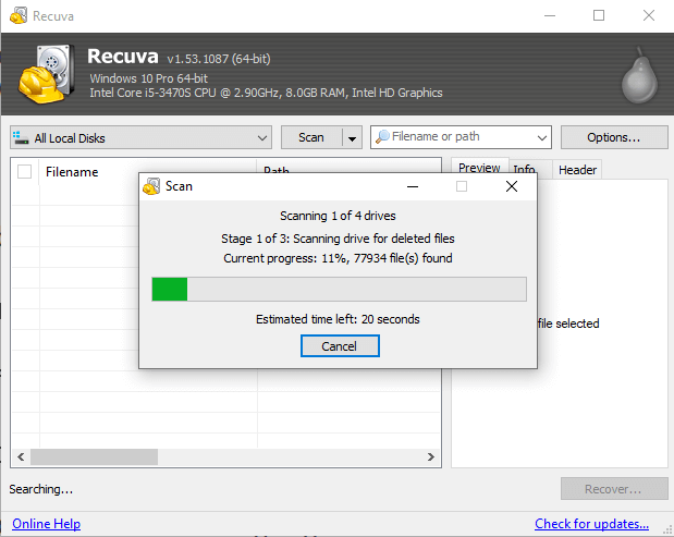 Deep Scan system with recuva data recovery