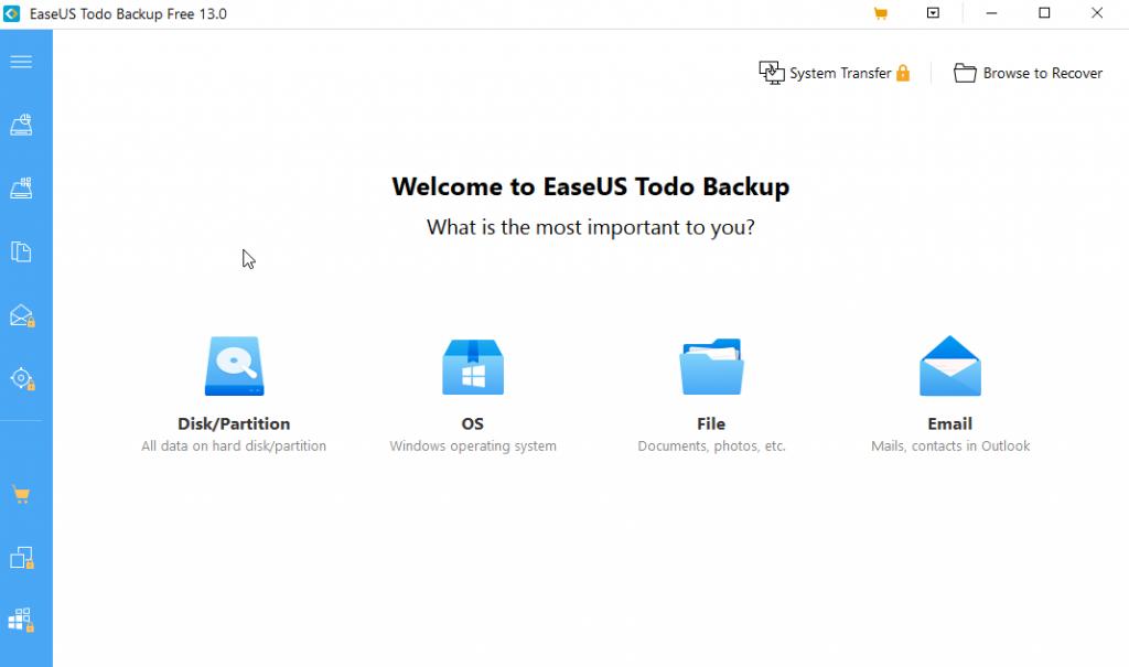 EaseUS Todo Backup: backup utility software