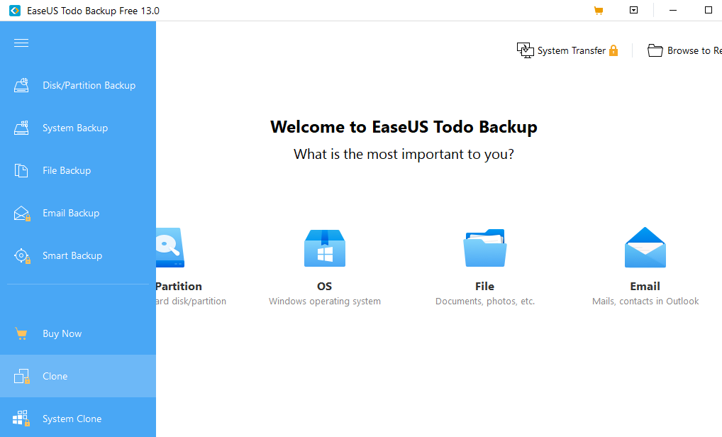 Launch EaseUS Todo Backup, SSD cloning software