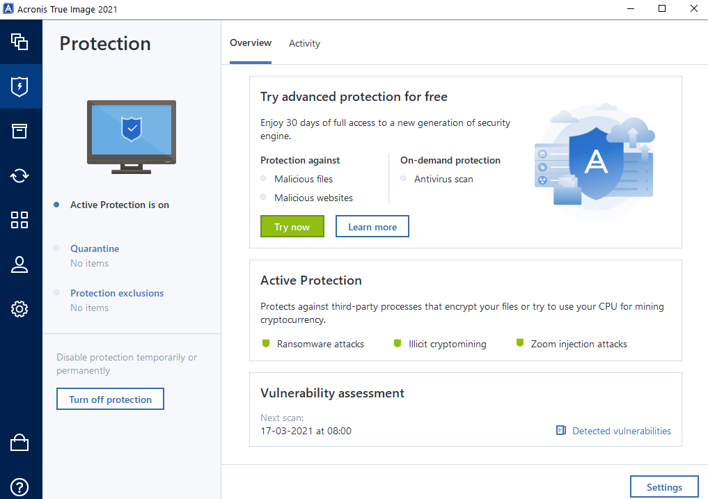 Protection From Malware with acronis