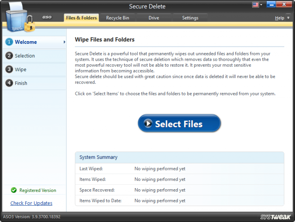 Delete files, folders, and documents securely
