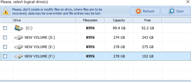 Select the Drive of accidentally deleted files, image recovery tool