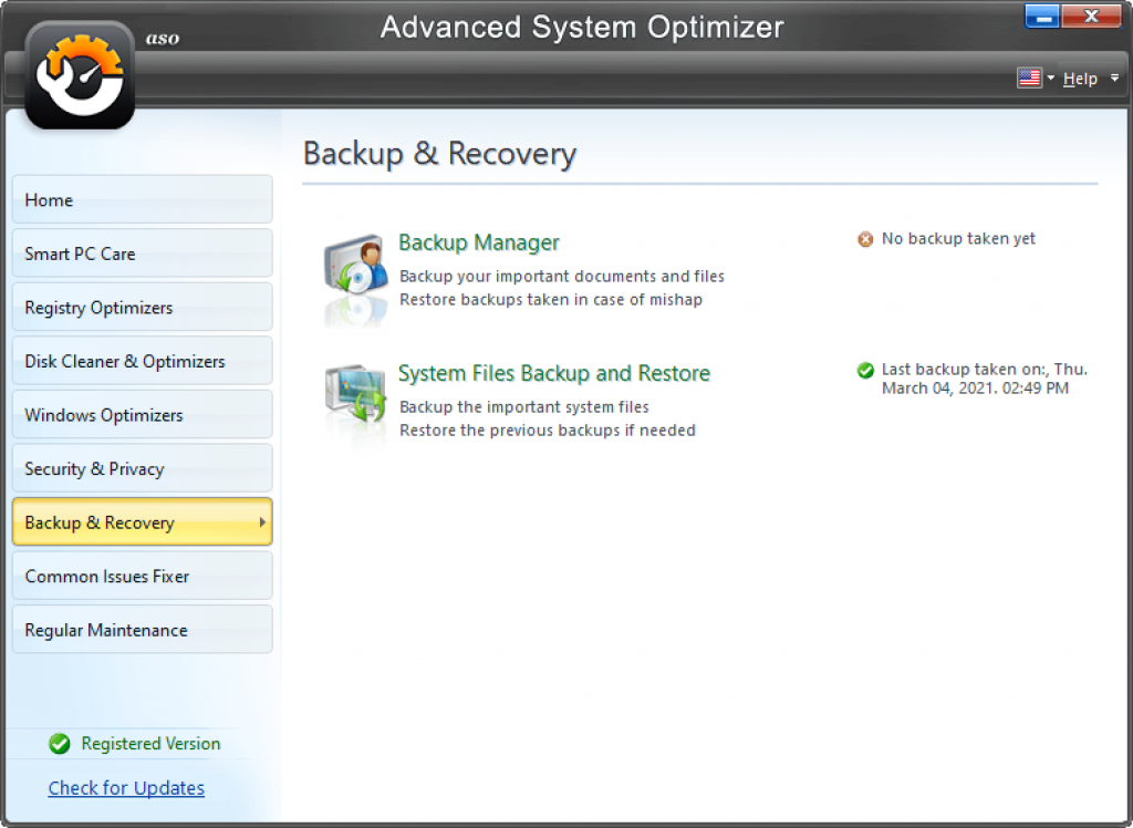 backup and recovery with advanced system optimizer