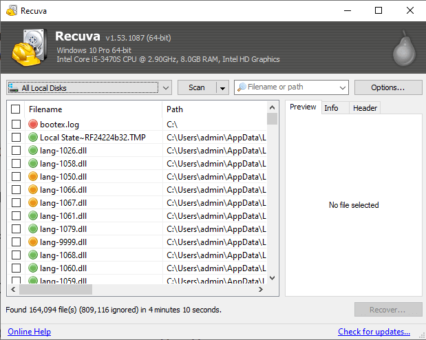 interface of recuva file recovery