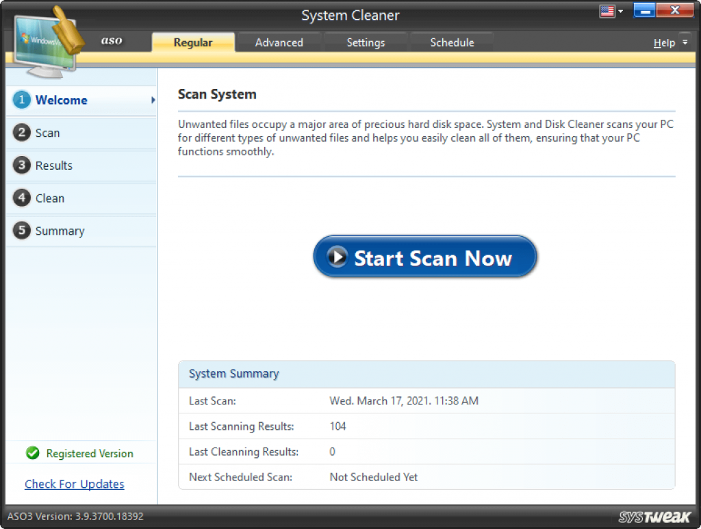 delete unwanted files with system cleaner
