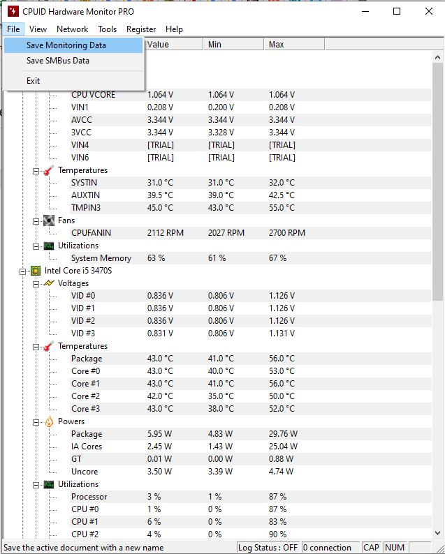 Track hardware components temperatures
