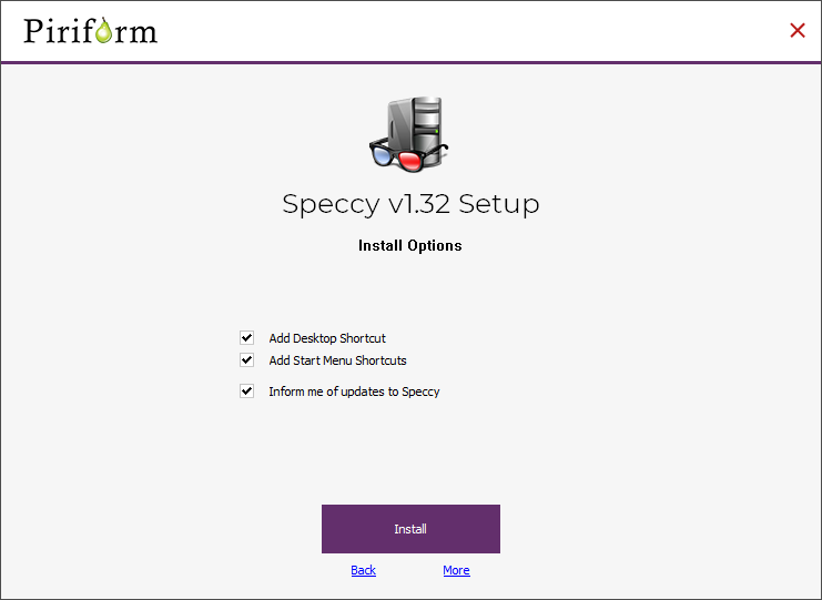 customize the installation of speccy for windows