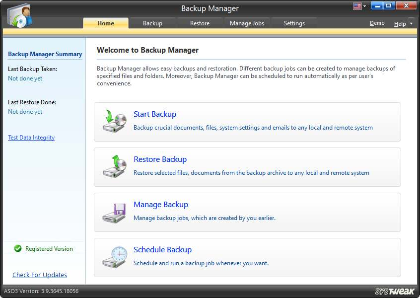 Backup Manager in aso