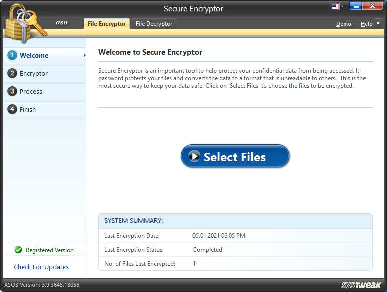 Secure Encryptor in advanced system optimizer