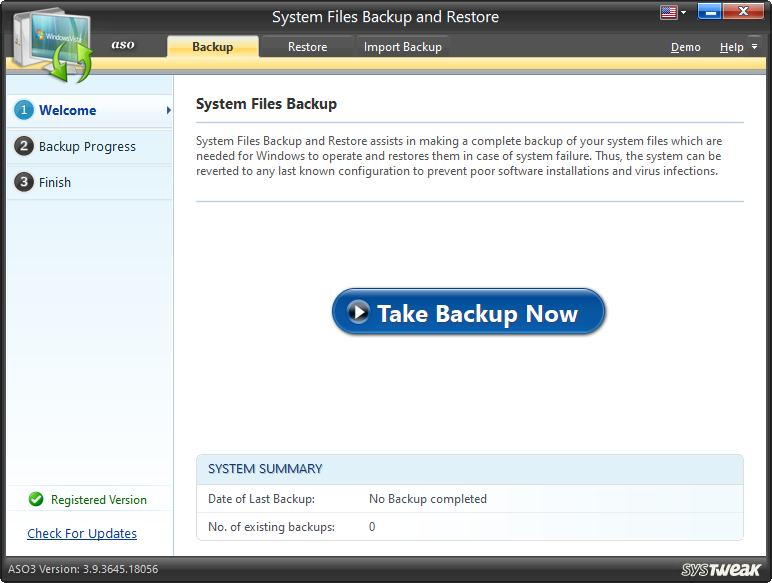 System Files Backup and Restore in aso