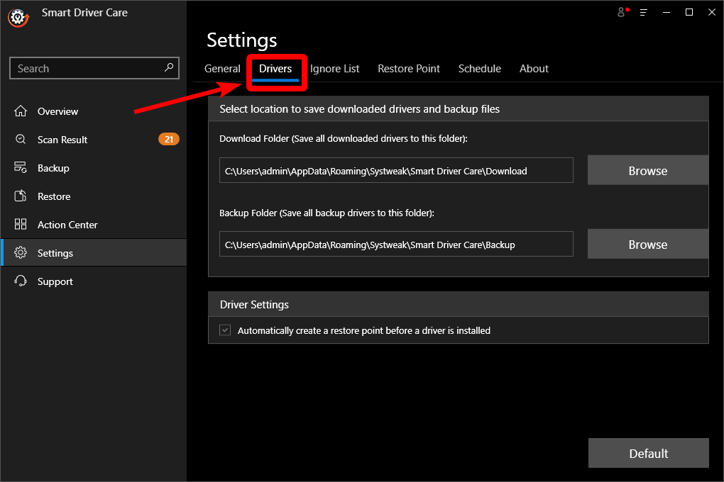 Settings for Drivers