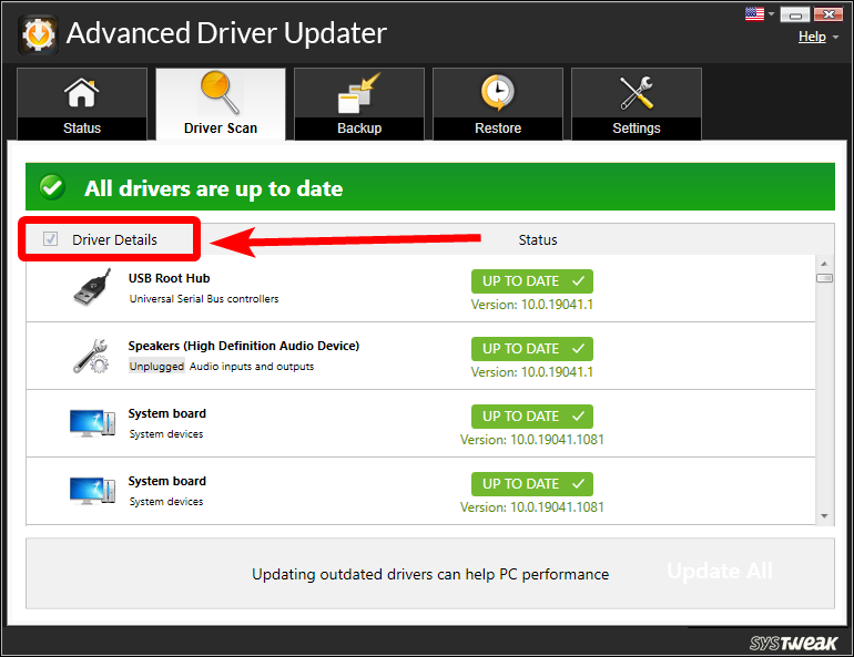 Driver Details in advanced driver updater
