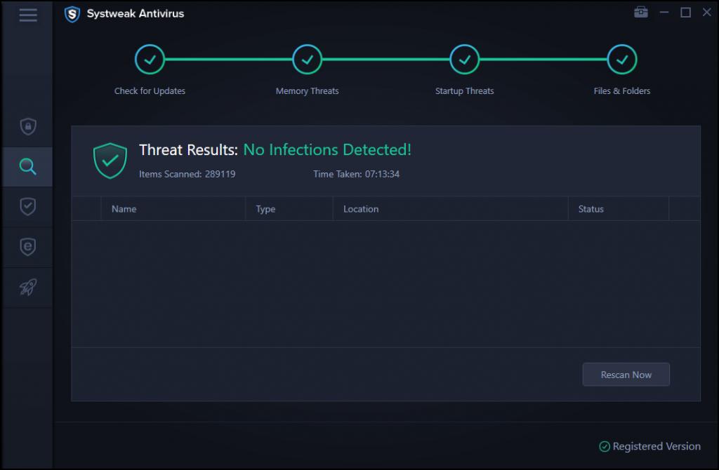 threats result of systweak antivirus